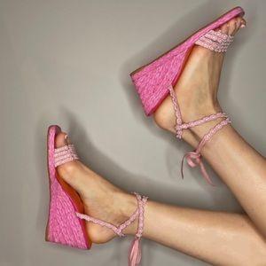Vintage Pink Tie-Up Stuart Weitzman Wedges